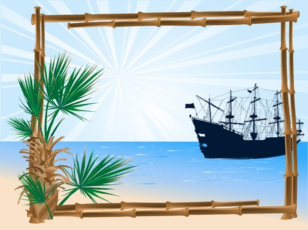 Bamboo frame, palm tree and the ship