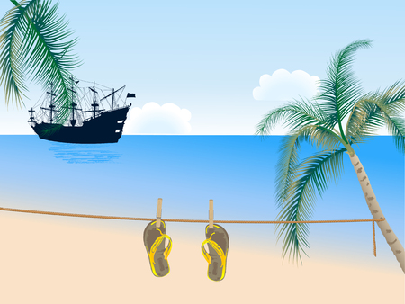 Beach scene with palm trees, sandals and ship