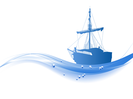 Blue silhouette of the pirate ship isolated on white background
