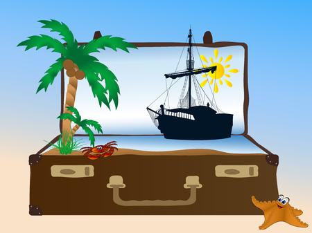 Sea in the retro suitcase Çizim