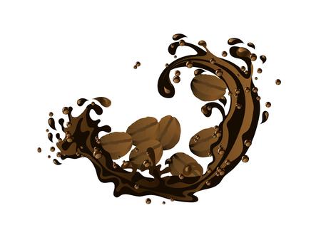 Fresh coffee beans  in chocolate splash Illustration
