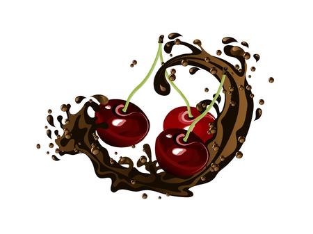 Fresh cherries  in chocolate splash