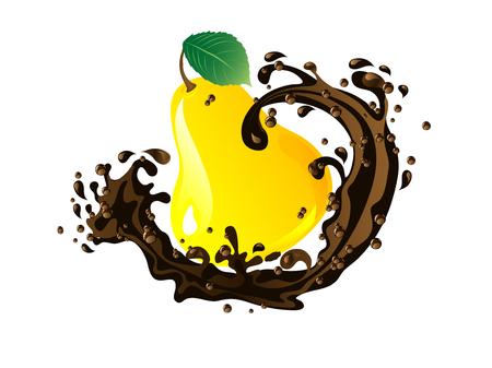 Fresh yellow pear  in chocolate splash