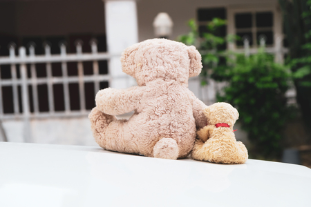 Two teddy bears sitting on a white background. I sent the encouragement to those who are suffering. Banco de Imagens