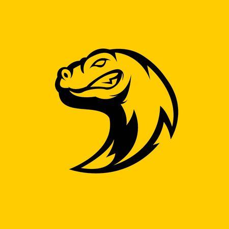 Komodo dragon mascot logo silhouette version. Comodo logo in sport style, mascot logo illustration design vector Logo