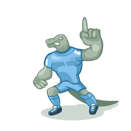 Komodo dragon cartoon mascot design with modern illustration concept style for sport team.The color can be edited according to your favorite team. Illustration