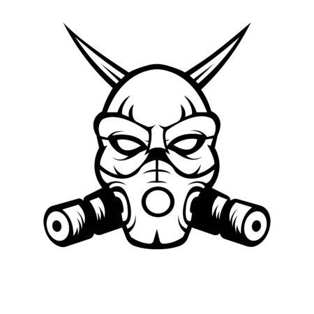 Devil with mask mascot logo silhouette version. Devil logo in sport style, mascot logo illustration design vector