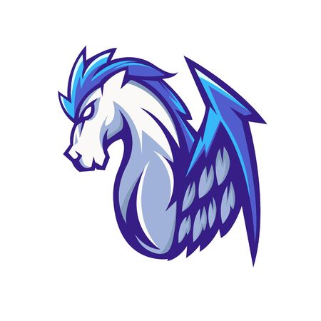 Pegasus mascot logo design vector with modern illustration concept style for badge, emblem and t shirt printing. Red Pegasus illustration for sport and e-sport team. Illustration