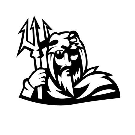 Jäger-Maskottchen-Logo-Design-Vektor mit modernem Illustrationskonzept-Stil für Abzeichen-, Emblem- und T-Shirt-Druck. Kriegerillustration für Sport- und E-Sport-Team. Logo