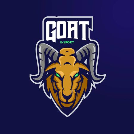 Goat mascot  design vector with modern illustration concept style for badge, emblem and t shirt printing. Angry Goat illustration for sport and e-sport team. 向量圖像