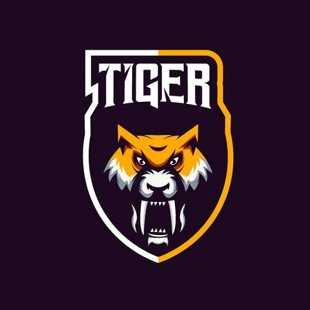 Tiger mascot design with modern illustration concept style for badge, emblem and t shirt printing. Angry Tiger illustration for sport and e-sport team.