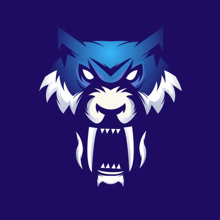 Tiger mascot logo design with modern illustration concept style for badge, emblem and t shirt printing