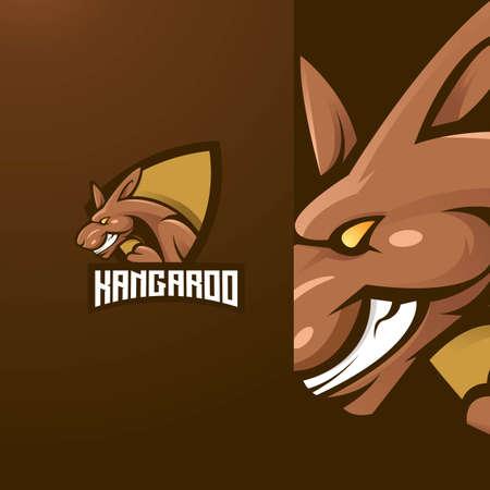 Kangaroo mascot logo design vector with modern illustration concept style for badge, emblem and t shirt printing