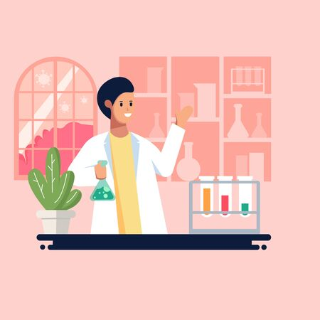 Flat style vector illustration. Discovery of a virus vaccine. Scientific research of Virus vaccine in laboratory. illustration in flat cartoon style