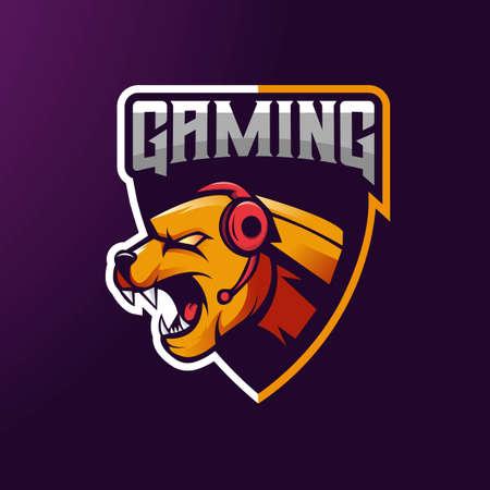 Jaguar mascot logo design with modern illustration concept style for badge, emblem and t shirt printing. Angry Jaguar illustration for gaming