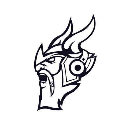 Viking mascot logo design vector with modern illustration concept style for badge, emblem and t shirt printing. Angry Viking wear a headset illustration for sport and e-sport team. Logo
