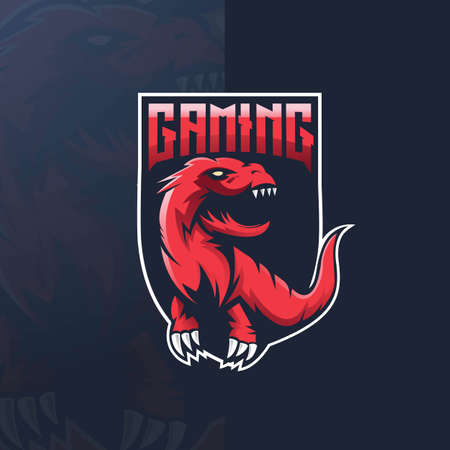 Dinosaur sport mascot design illustration. T-Rex mascot sports , concept style for badge, emblem and t shirt printing. Angry T-Rex illustration for gaming  イラスト・ベクター素材