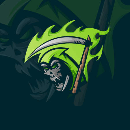 Grim reaper athletic club vector concept isolated on dark background. Modern sport team mascot badge design. E-sports team template with reaper vector illustration