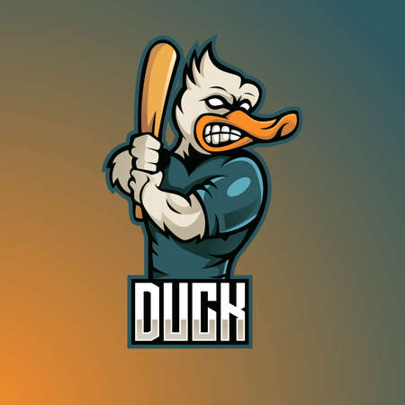 Duck mascot logo design vector with modern illustration concept style for badge, emblem and t shirt printing. illustration of a duck carrying a baseball stick
