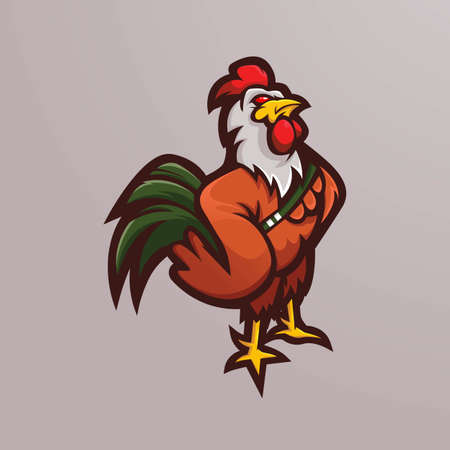 chicken rooster mascot logo design vector with modern illustration concept style for badge, emblem and t shirt printing