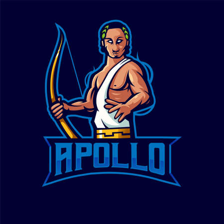 apollo mascot logo design vector with modern illustration concept style for badge, emblem and t shirt printing. god apollo illustration for sport and e-sport team.