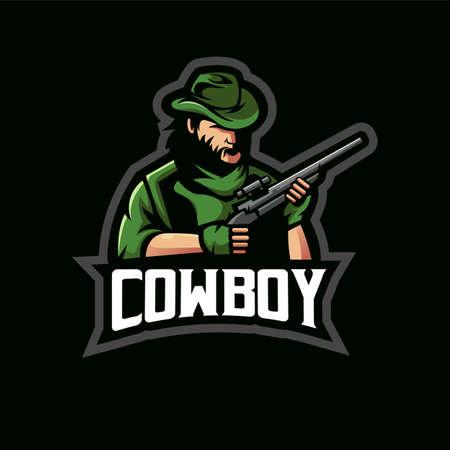 Cowboy e-Sport Mascot Logo Design Illustration Vector Иллюстрация