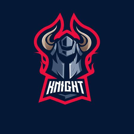 Knight e-Sport Mascot Logo Design Illustration Vector