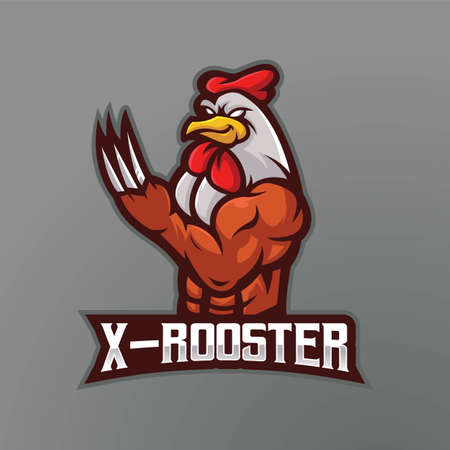 Rooster mascot design vector with modern illustration concept style for badge, emblem and t shirt printing. Metal nailed cock for e-sport team