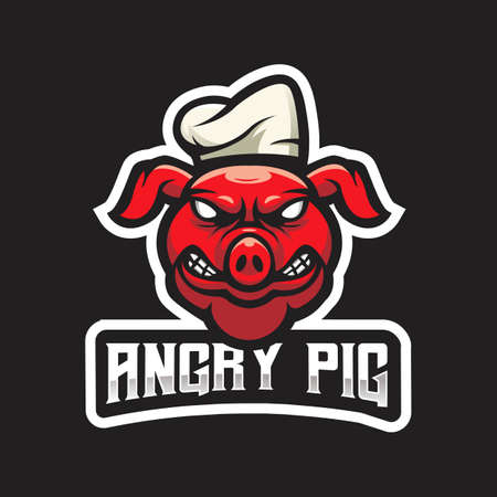 Pig mascot logo design vector with modern illustration concept style for badge, emblem and t shirt printing. Angry pig wearing chef hat for esport team