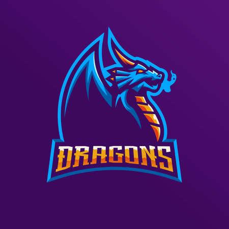 Dragon mascot logo design vector with modern illustration concept style for badge, emblem and t shirt printing. Angry Dragon illustration for e-sport team  イラスト・ベクター素材