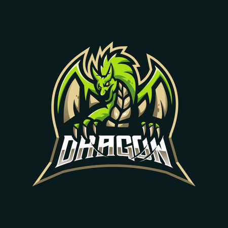 Dragon mascot logo design vector with modern illustration concept style for badge, emblem and t shirt printing. Angry Dragon illustration for sport and e-sport team  イラスト・ベクター素材