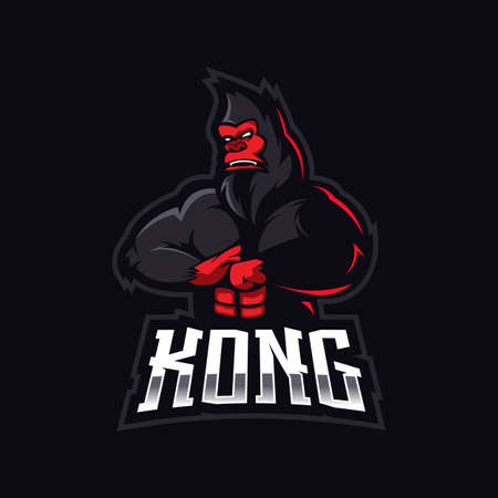 Kong mascot logo design vector with modern illustration concept style for badge, emblem and t shirt printing. Angry Gorilla illustration for sport and e-sport team