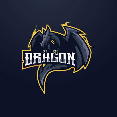 Dragon e-Sport Mascot Logo Design Illustration Vector. Angry black dragon