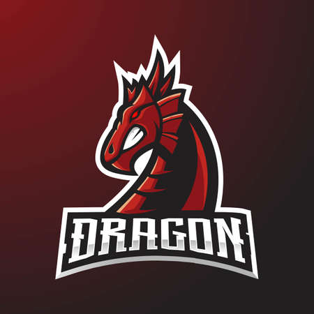 Red Dragon mascot logo for gaming with dark background  イラスト・ベクター素材