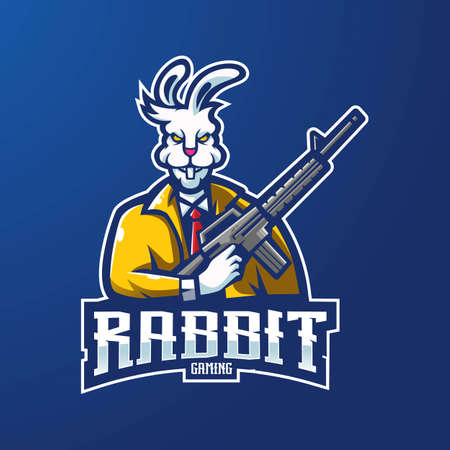 Rabbit mascot  design vector with modern illustration concept style for badge, emblem and t-shirt printing. Illustration of a rabbit carrying a gun for an e-sports team