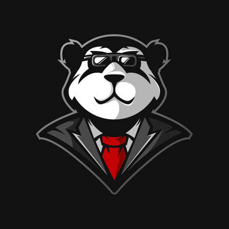 Illustration of panda wearing glasses and tie for mascot logo