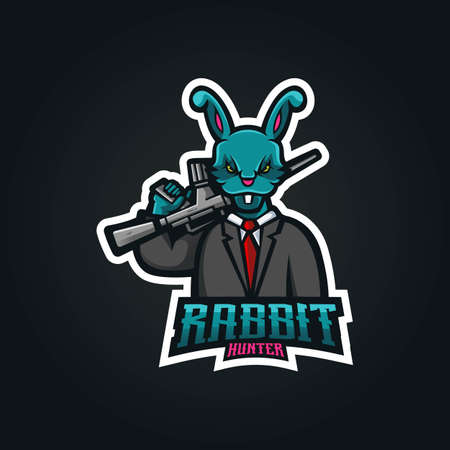 Rabbit mascot logo design vector with modern illustration concept style for badge, emblem and t-shirt printing. Illustration of a rabbit carrying a gun for sports team