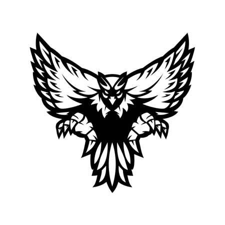 Eagle mascot logo design white and black version