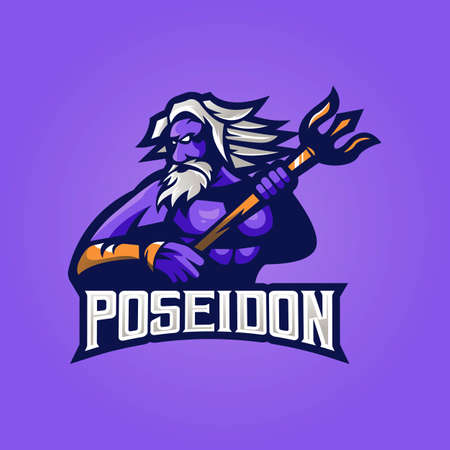 Poseidon mascot logo design vector with modern illustration concept style for badge, emblem and t-shirt printing. Poseidon illustration with trident for esport
