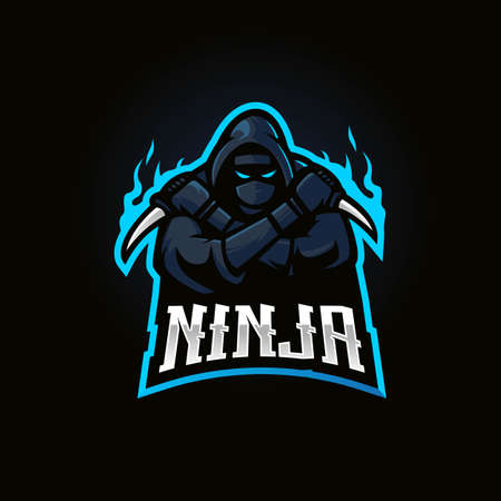 Ninja mascot design vector with modern illustration concept style for badge, emblem and t-shirt printing. Black ninja with knife for eSport