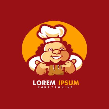 Chef restaurant mascot logo template