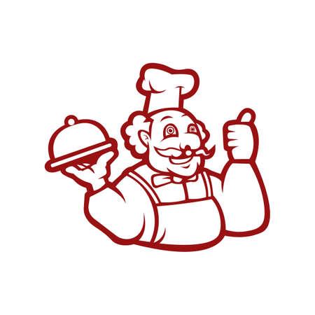 Chef restaurant mascot template black and white version Illusztráció