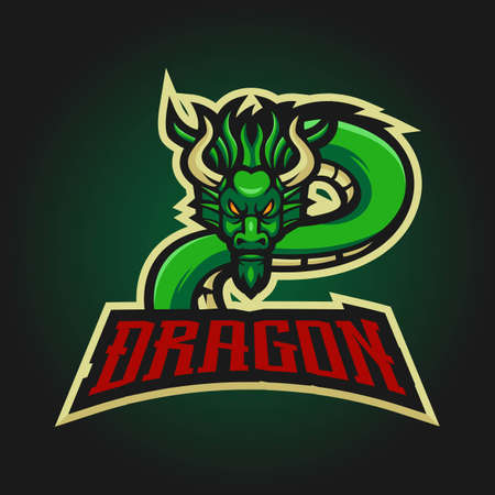 Dragon esport mascot logo design vector with modern illustration concept style for badge, emblem and t-shirt printing