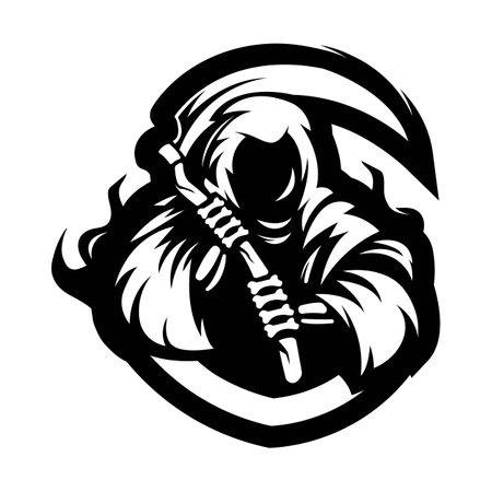 Reaper mascot logo silhouette version. Grim reaper in sport style, mascot logo illustration design vector