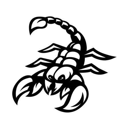 Scorpion mascot logo silhouette version. Scorpio logo in sport style, mascot logo illustration design vector Logo