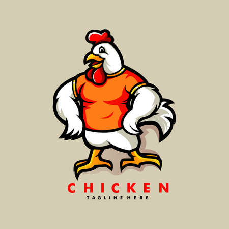 Chicken mascot cartoon logo design vector with modern illustration concept style for badge and emblem