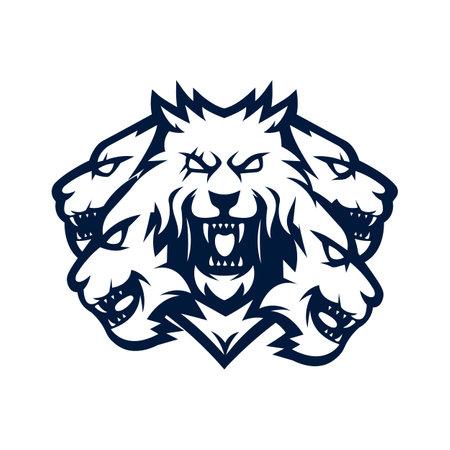 Five headed wolf mascot logo design vector