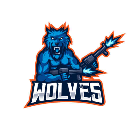 Wolves esport mascot logo design vector with transparent background