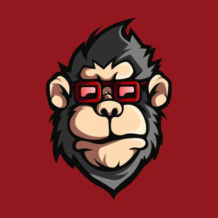 Monkey with glasses design logo vector