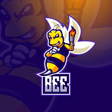 Bee e-Sport Mascot Logo Design Illustration Vector